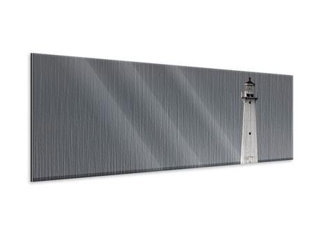 Metallic-Bild Panorama Der Leuchtturm bei Nacht