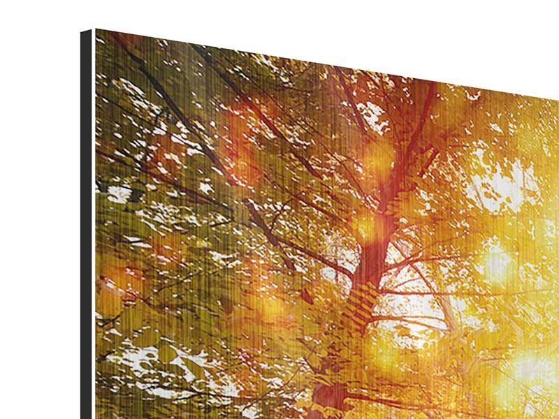 Metallic-Bild Panorama Vollblut im Herbstwald