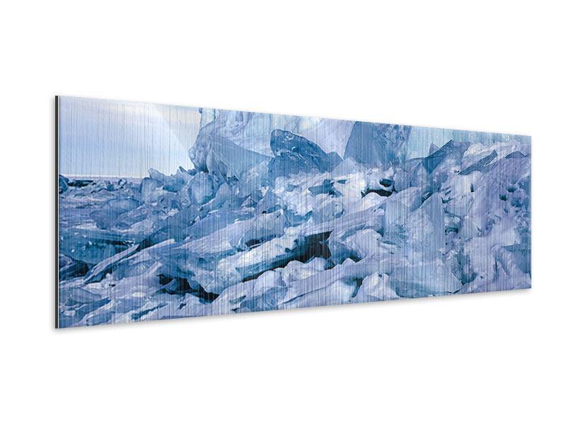 Metallic-Bild Panorama Eislandschaft Baikalsee