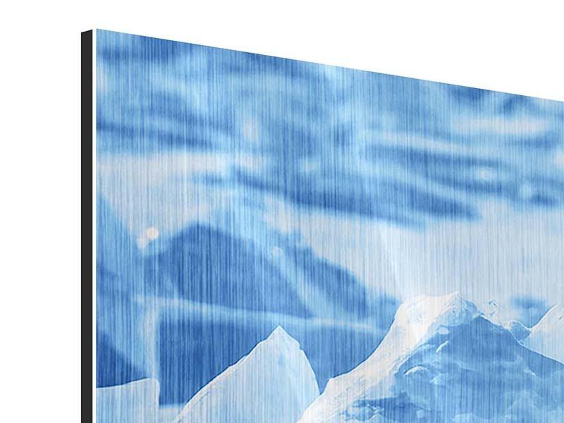 Metallic-Bild Panorama Eis des Baikalsees