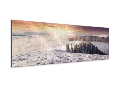 Metallic-Bild Panorama Sonnenaufgang Winterlandschaft
