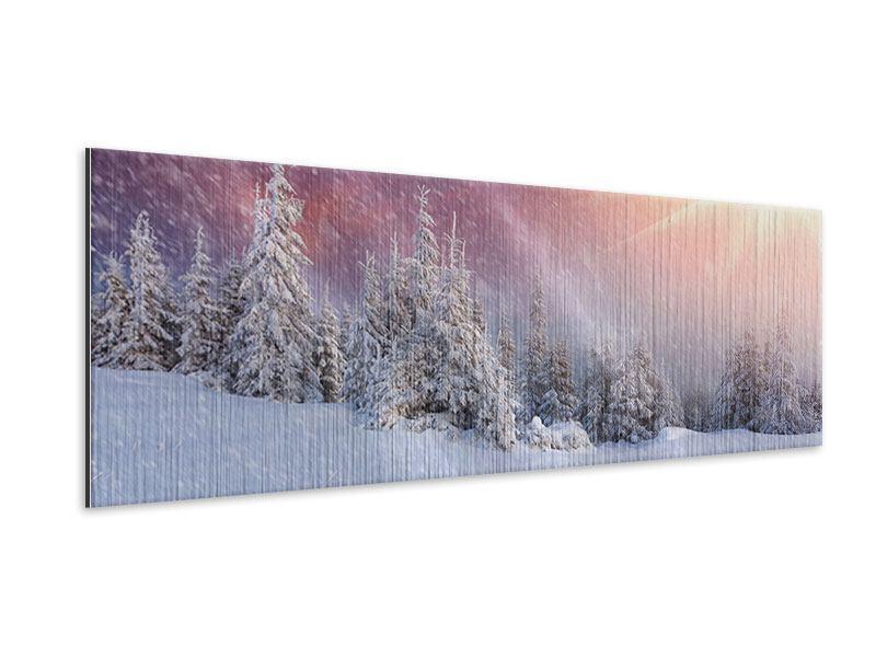 Metallic-Bild Panorama Mystischer Schneesturm