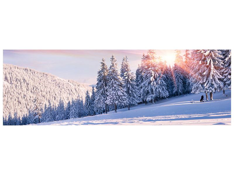Metallic-Bild Panorama Winterlandschaft
