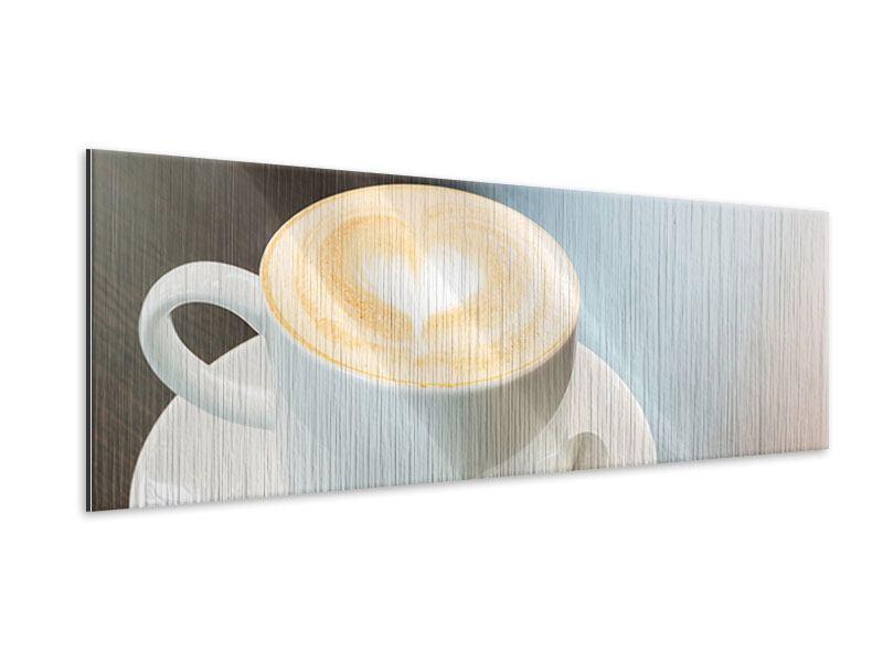 Metallic-Bild Panorama Lieblingskaffee