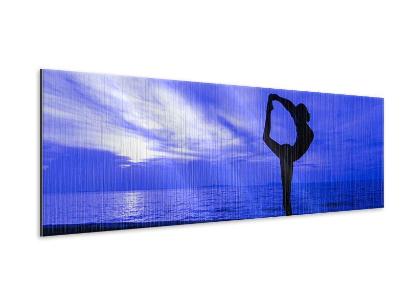 Metallic-Bild Panorama Yogaübung am Strand