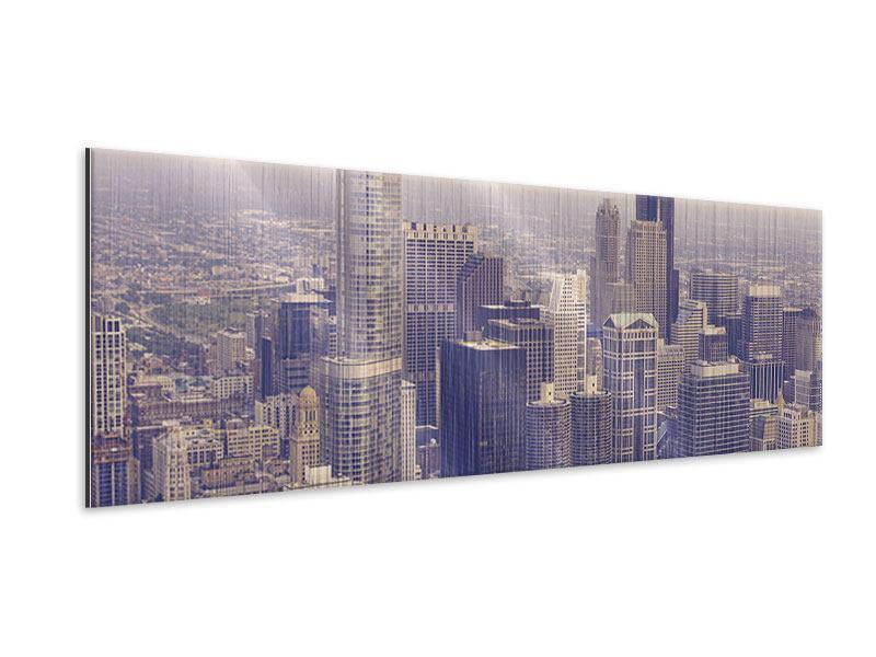 Metallic-Bild Panorama Skyline Chicago in Sepia