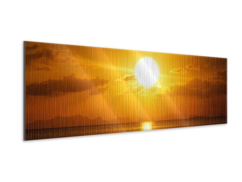 Metallic-Bild Panorama Sonnenuntergang See