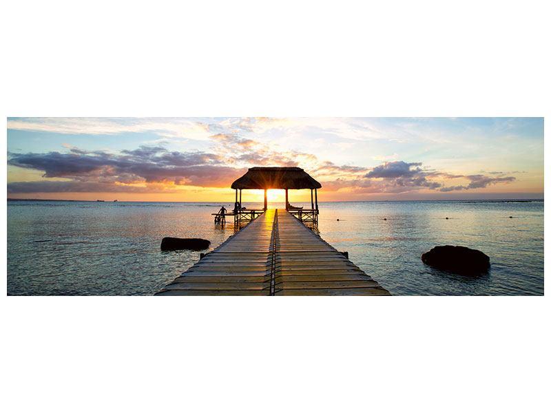 Metallic-Bild Panorama Romantik auf Mauritius
