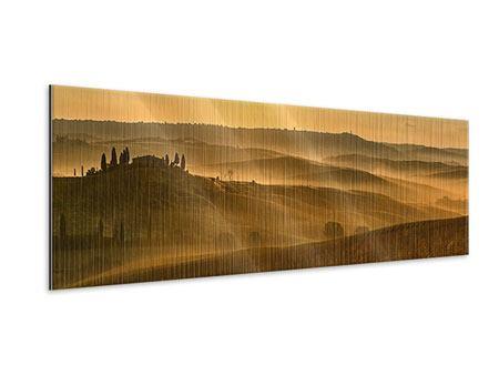Metallic-Bild Panorama Sonnenuntergang im Gebirge