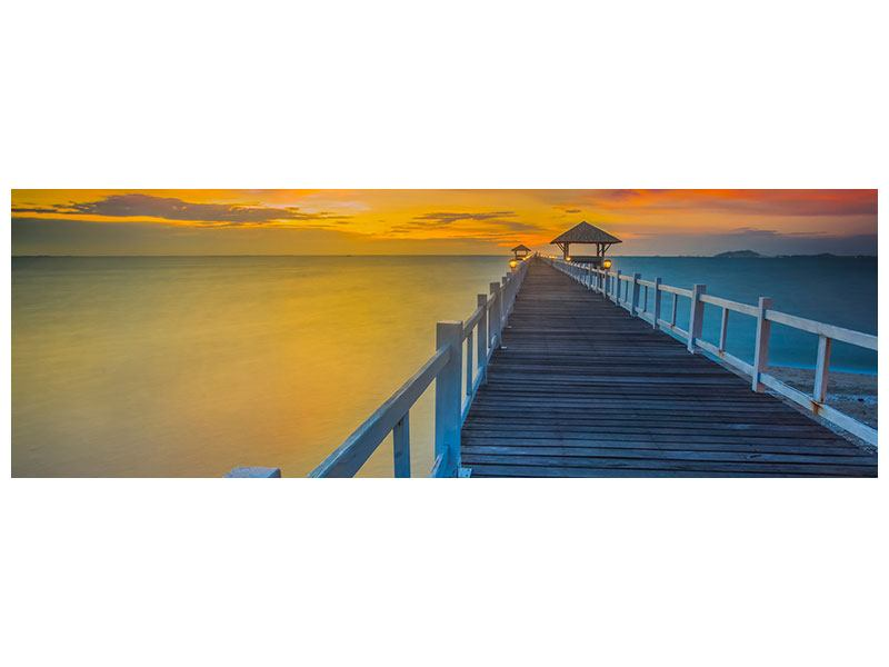 Metallic-Bild Panorama Eine Holzbrücke im fernen Osten