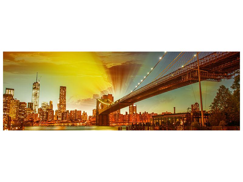Metallic-Bild Panorama Skyline Brooklyn Bridge NY