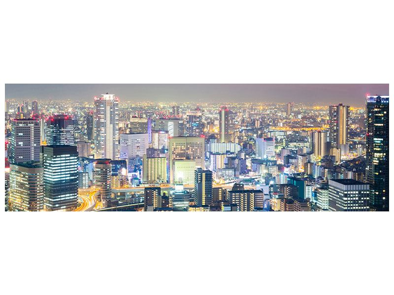 Metallic-Bild Panorama Skyline Osaka bei Sonnenuntergang