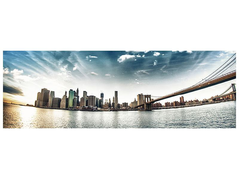 Metallic-Bild Panorama Brooklyn Bridge From The Other Side