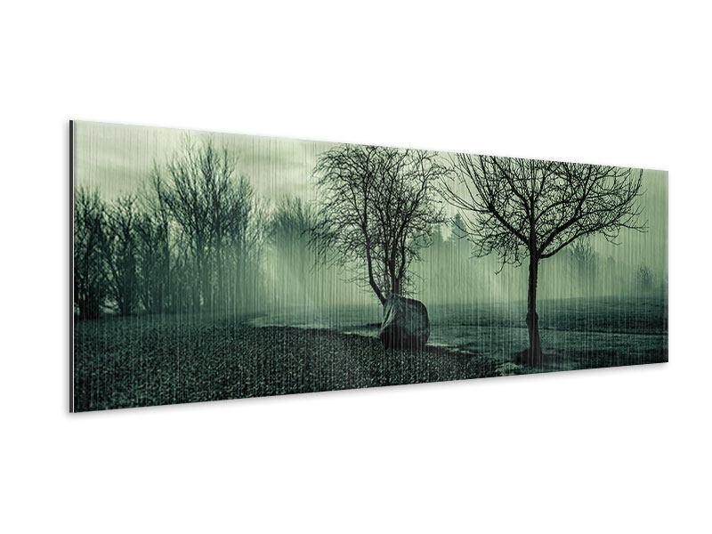 Metallic-Bild Panorama Der Auwald im Nebel