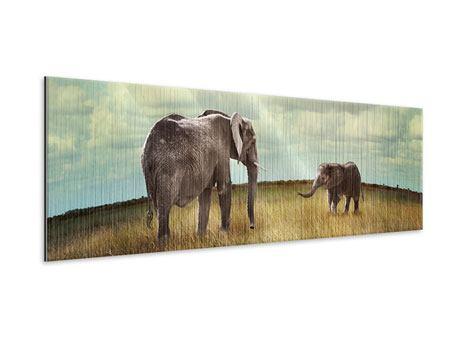 Metallic-Bild Panorama Elefanten und Feng Shui