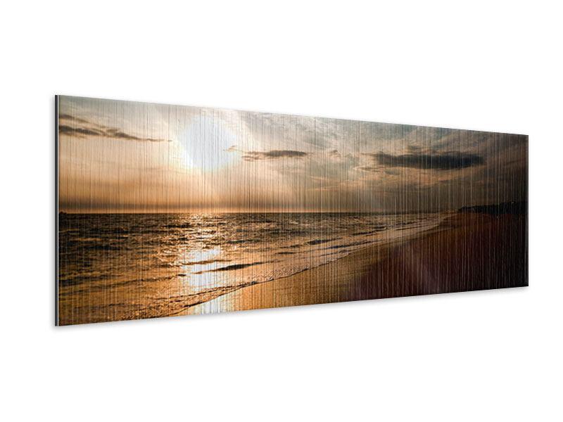 Metallic-Bild Panorama Strandspaziergang
