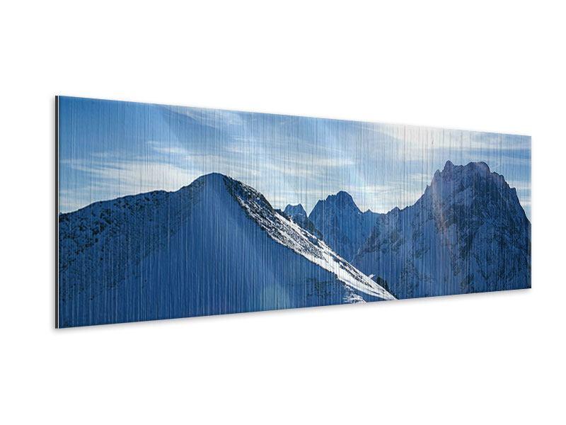 Metallic-Bild Panorama Der Berg im Schnee