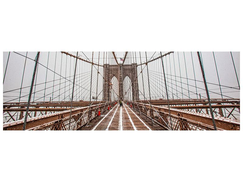 Metallic-Bild Panorama Auf der Brooklyn Bridge
