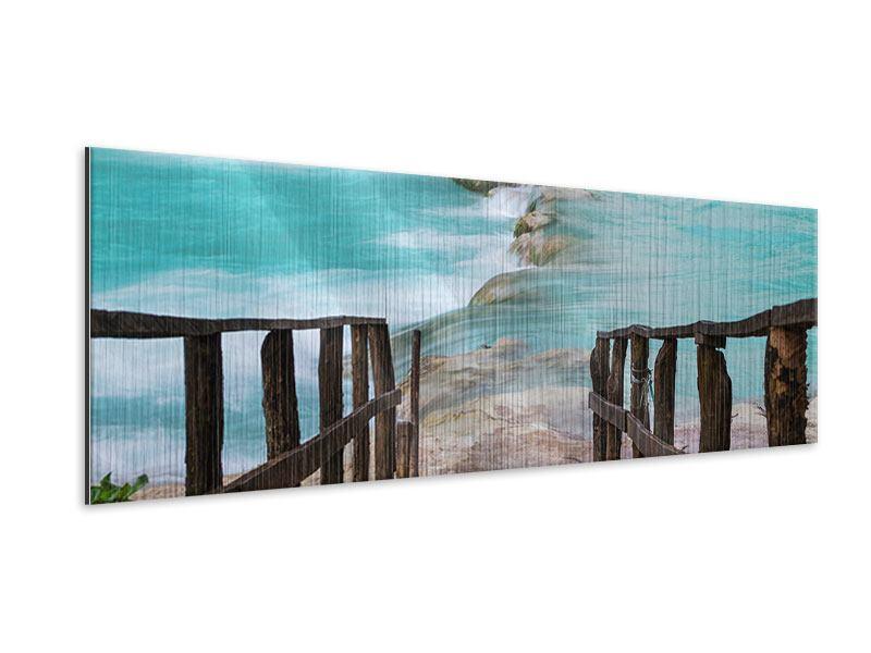 Metallic-Bild Panorama Haus am Wasserfall