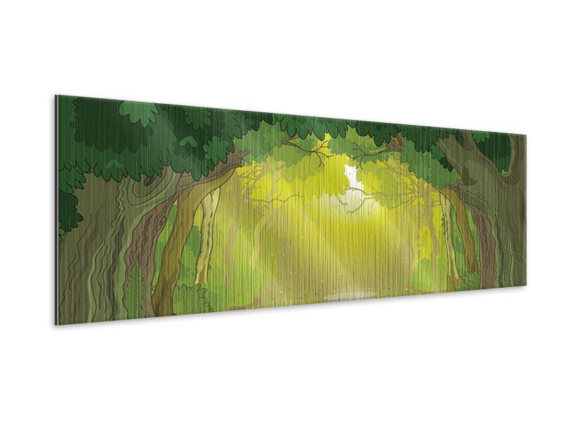 Metallic-Bild Panorama Der Märchenwald