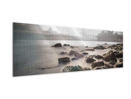 Metallic-Bild Panorama Steine am Strand