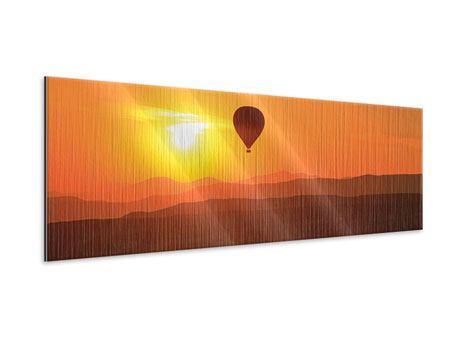 Metallic-Bild Panorama Heissluftballon bei Sonnenuntergang