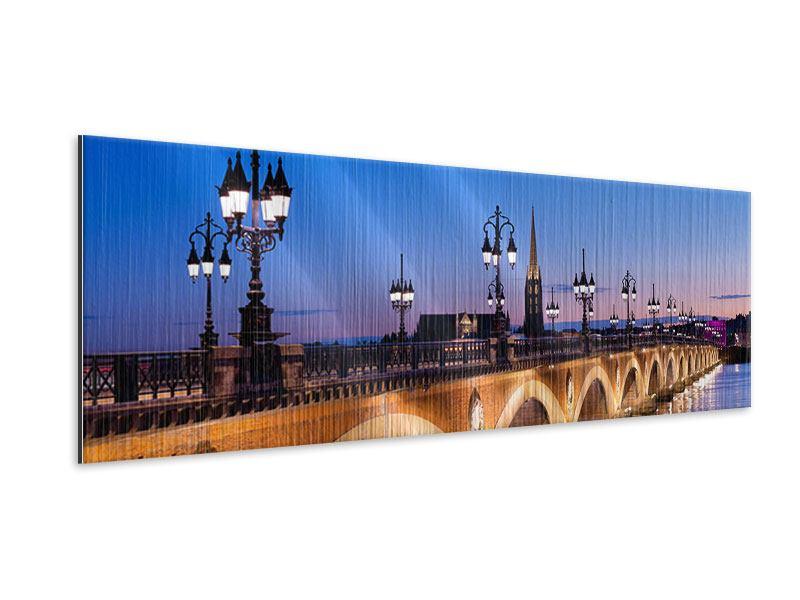 Metallic-Bild Panorama Pont De Pierre bei Sonnenuntergang