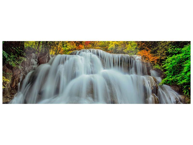 Metallic-Bild Panorama Fallendes Gewässer