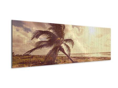 Metallic-Bild Panorama Die schiefe Palme