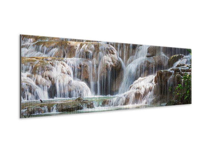 Metallic-Bild Panorama Mexikanischer Wasserfall