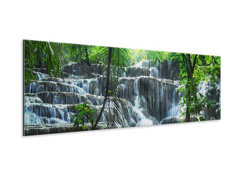 Metallic-Bild Panorama Wasserfall Agua Azul