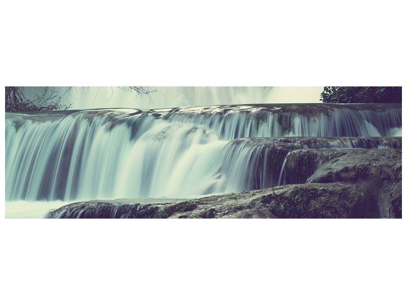Metallic-Bild Panorama Wasserfall Mexiko