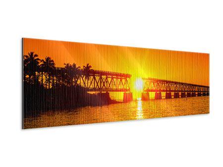 Metallic-Bild Panorama Sonnenuntergang an der Brücke