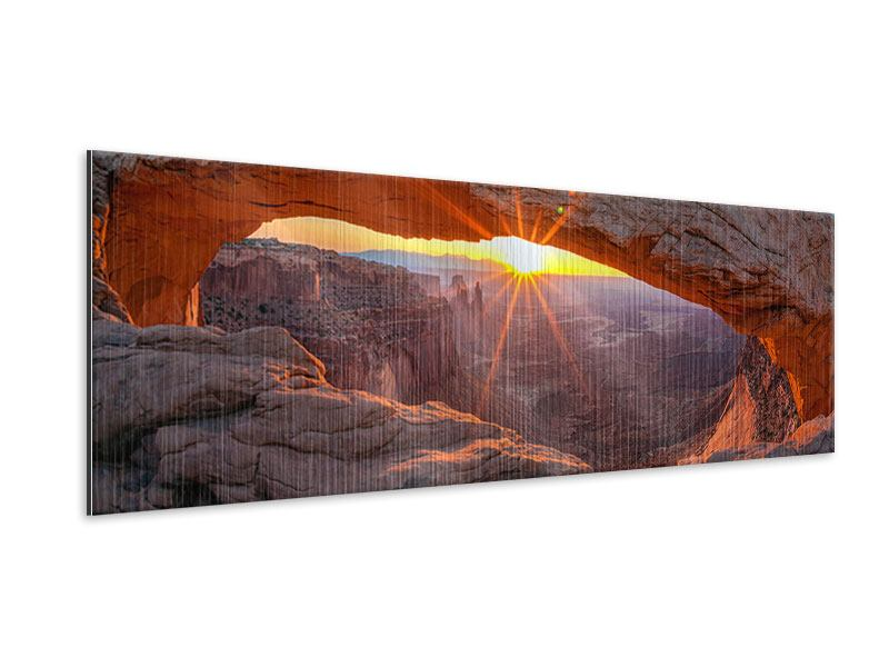 Metallic-Bild Panorama Sonnenuntergang am Mesa Arch
