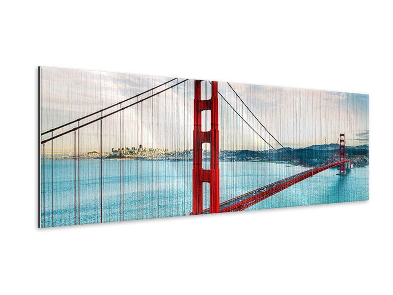 Metallic-Bild Panorama Golden Gate Bridge