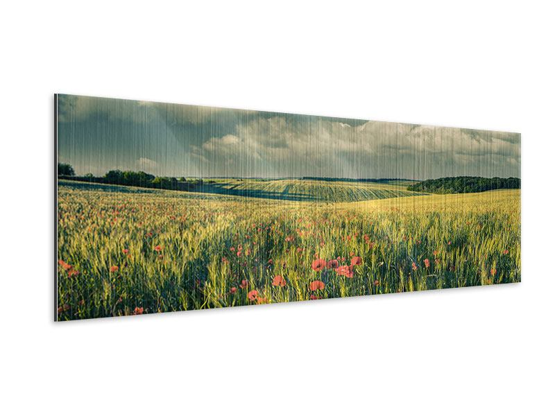 Metallic-Bild Panorama Der Mohn im Weizenfeld