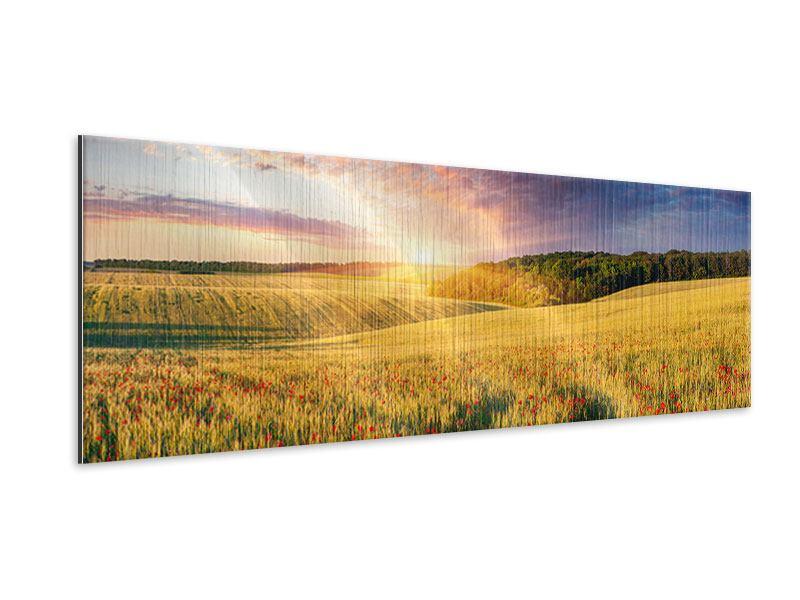 Metallic-Bild Panorama Ein Blumenfeld bei Sonnenaufgang