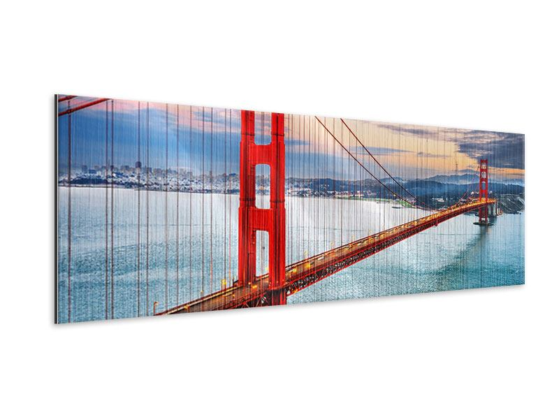 Metallic-Bild Panorama Der Golden Gate Bridge bei Sonnenuntergang