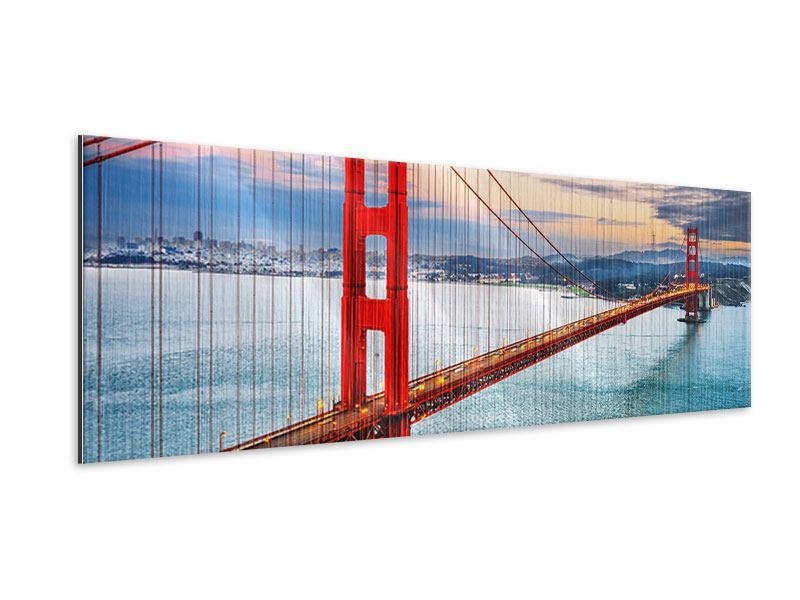 Metallic-Bild Panorama Der Golden Gate Bridge bei Sonnenuntergang