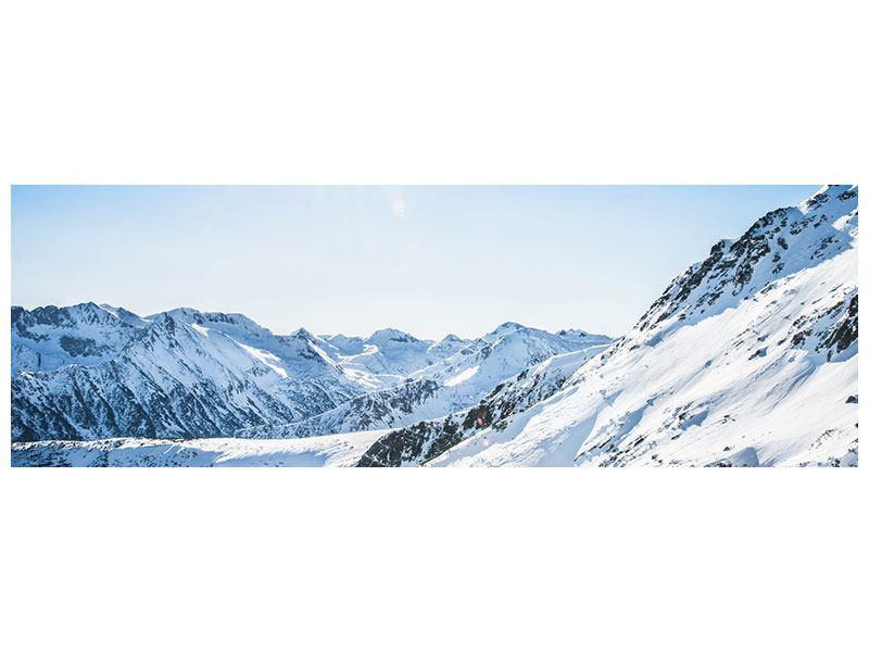 Metallic-Bild Panorama Bergpanorama im Schnee