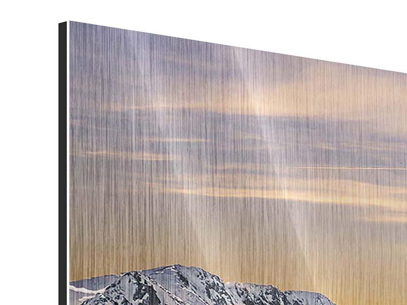 Metallic-Bild Panorama Sonnenuntergang in den Bergen