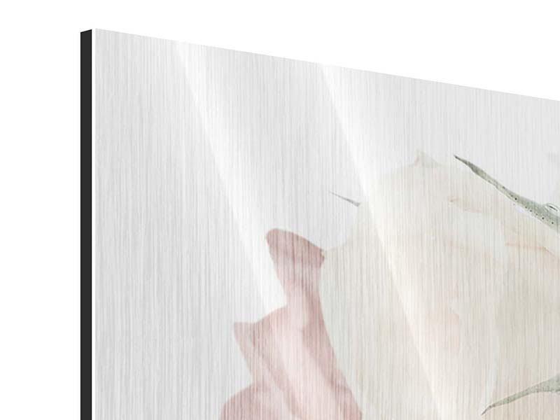 Metallic-Bild Panorama Rosenromantik