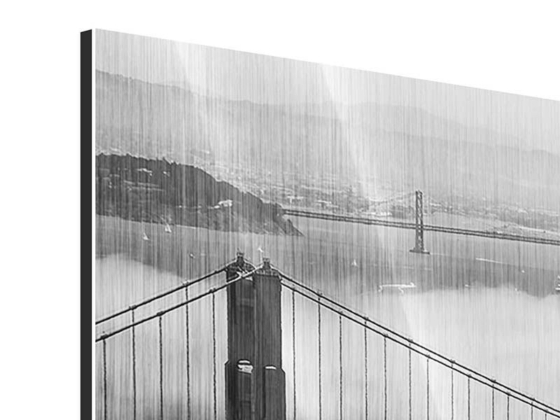 Metallic Bild Panorama Golden Gate Br 252 Cke