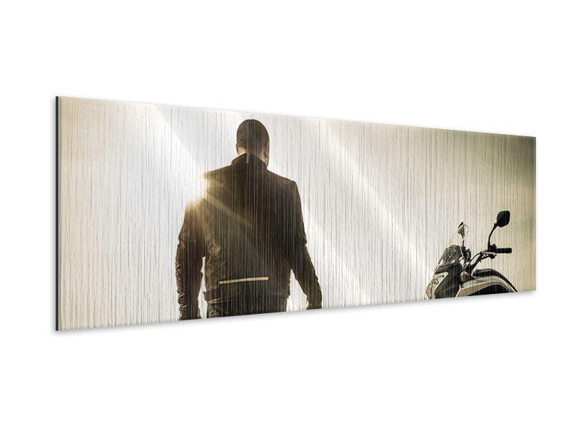 Metallic-Bild Panorama Biker in der Abenddämmerung
