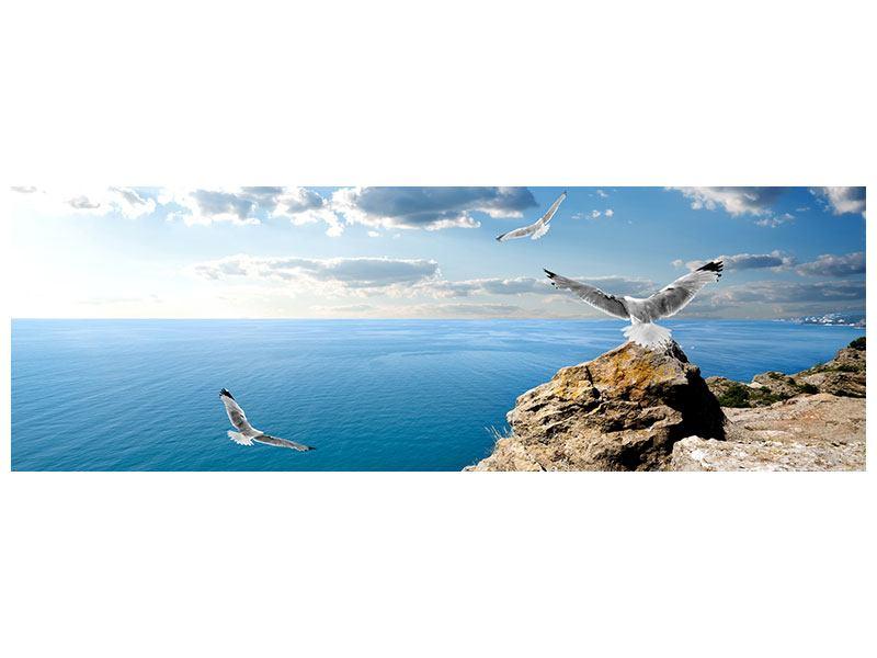 Metallic-Bild Panorama Die Möwen und das Meer