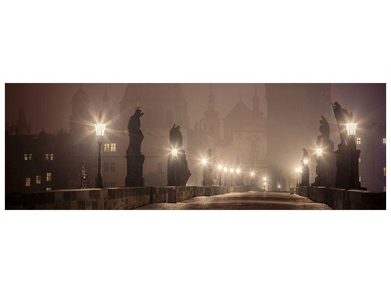 Metallic-Bild Panorama Die Karlsbrücke bei Nacht