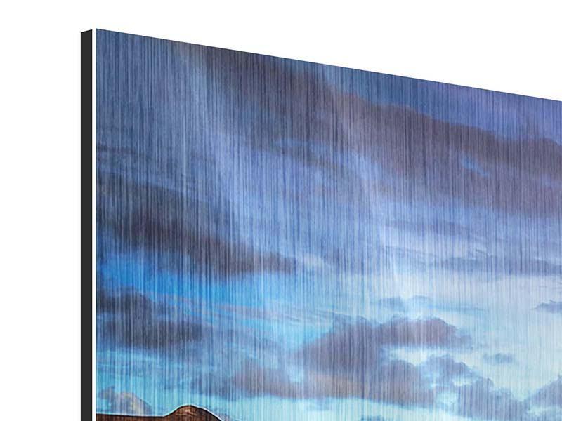 Metallic-Bild Panorama Traumhaus im Wasser