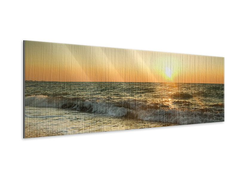 Metallic-Bild Panorama Sonnenuntergang am Meer