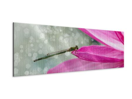 Metallic-Bild Panorama Libelle auf dem Seerosenblatt