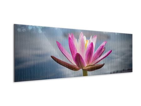 Metallic-Bild Panorama Lotus im Morgentau